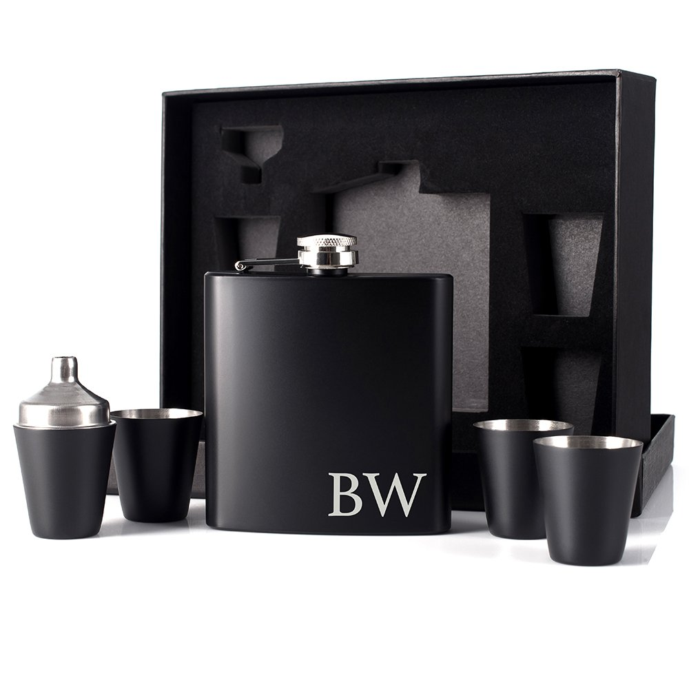 P Lab Father's Day Gift Customized 6 Piece Flask Set w Gift Box - Engraved 6oz Stainless Steel Hip Flask Custom Personalized Engraved Flask Gift Set Father Grandfather Papa Dad Gift, Matte Black #7