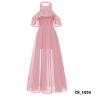 Latest design cheap plus size elegant long pink lace halter neck bridesmaid dresses gowns weddings