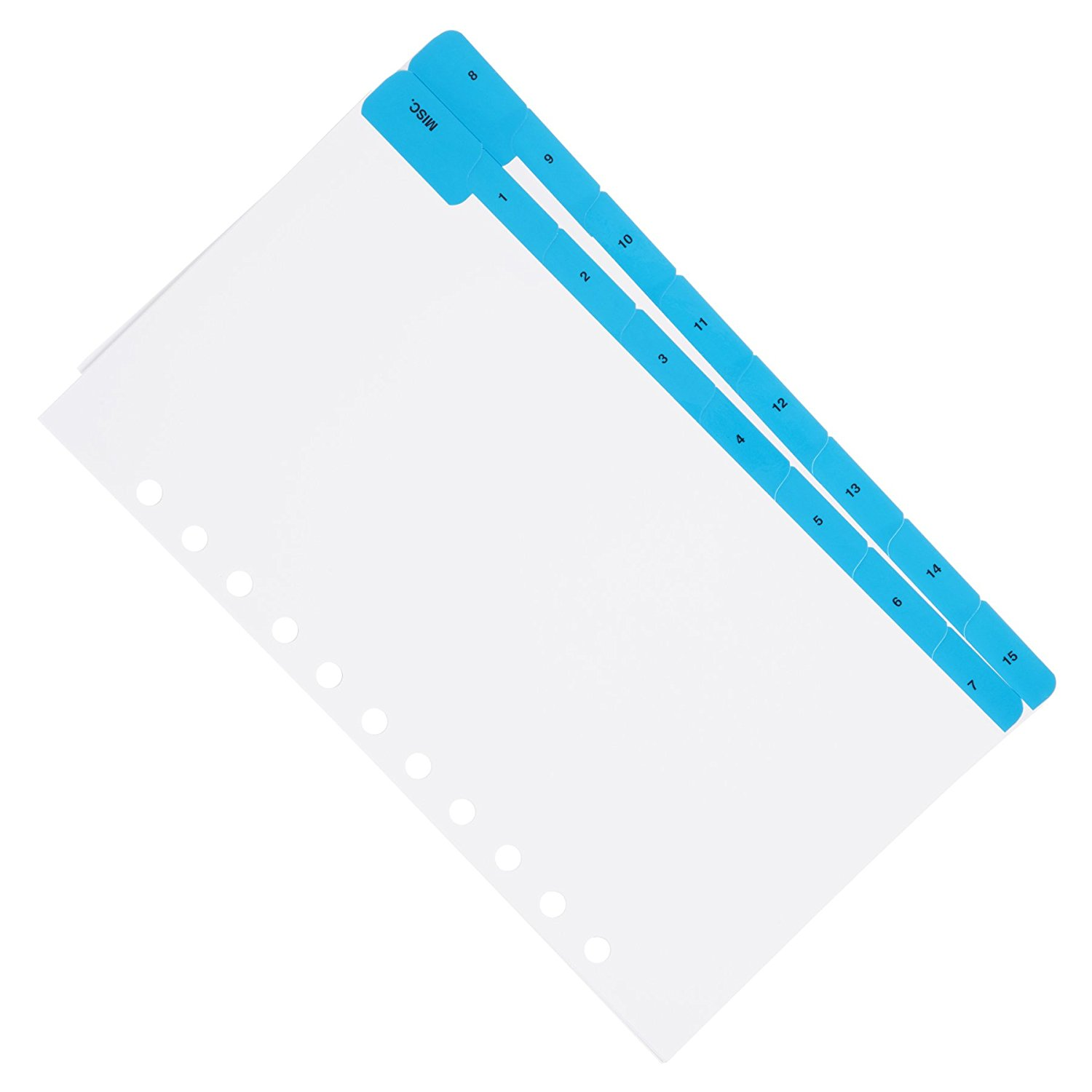 Aerobind 11 Hole MISCELLANEOUS Airline Compatible QRH Divider Tabs - 16 Blue Mylar Coated Aircraft Checklist Index Tabs - 2 Sets