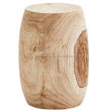 Mango Wood Natural Finish Round Stool