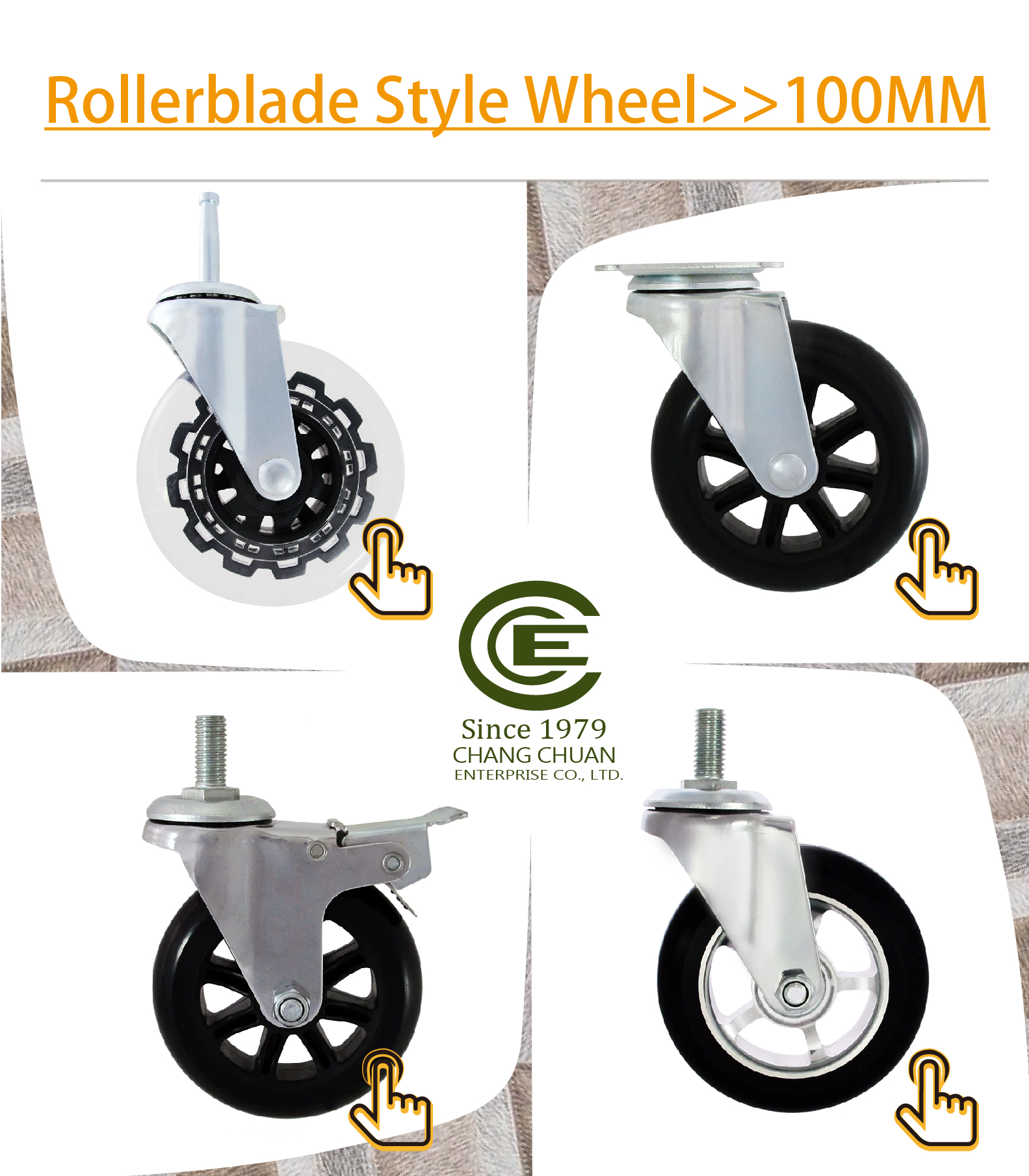 CCE Caster Furniture 3 Rollerblade Office Chair Caster Wheels