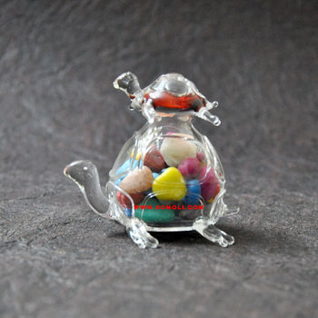 Pebbles Filled Turtle Modern Murano Glass Home Decor Crystal