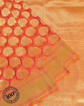 Banarasi Sarees Exporter in Varanasi India Orange Katan Silk Floral Resham and Zari Woven Banarasi Saree