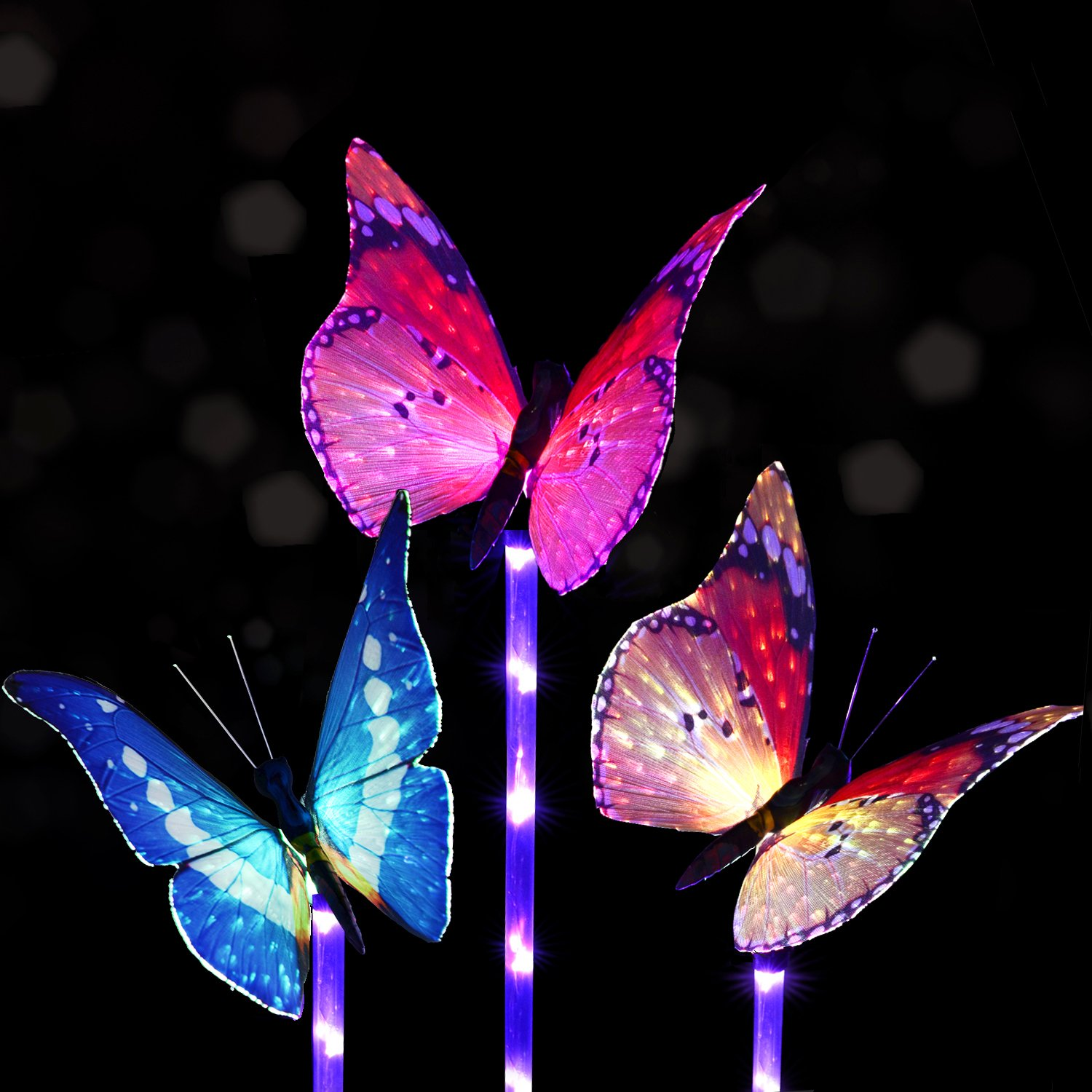 Solarmart Outdoor Garden Solar Lights - 3 Pack Fiber Optic Butterfly Solar Powered Lights, Color Changing LED Solar Stake Lights, with a Purple LED Light Stake for Garden, Patio, Backyard