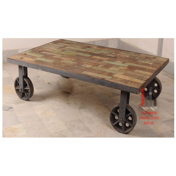 Vintage Reclaimed Wood Iron Made Cart Coffee Table With Wheels