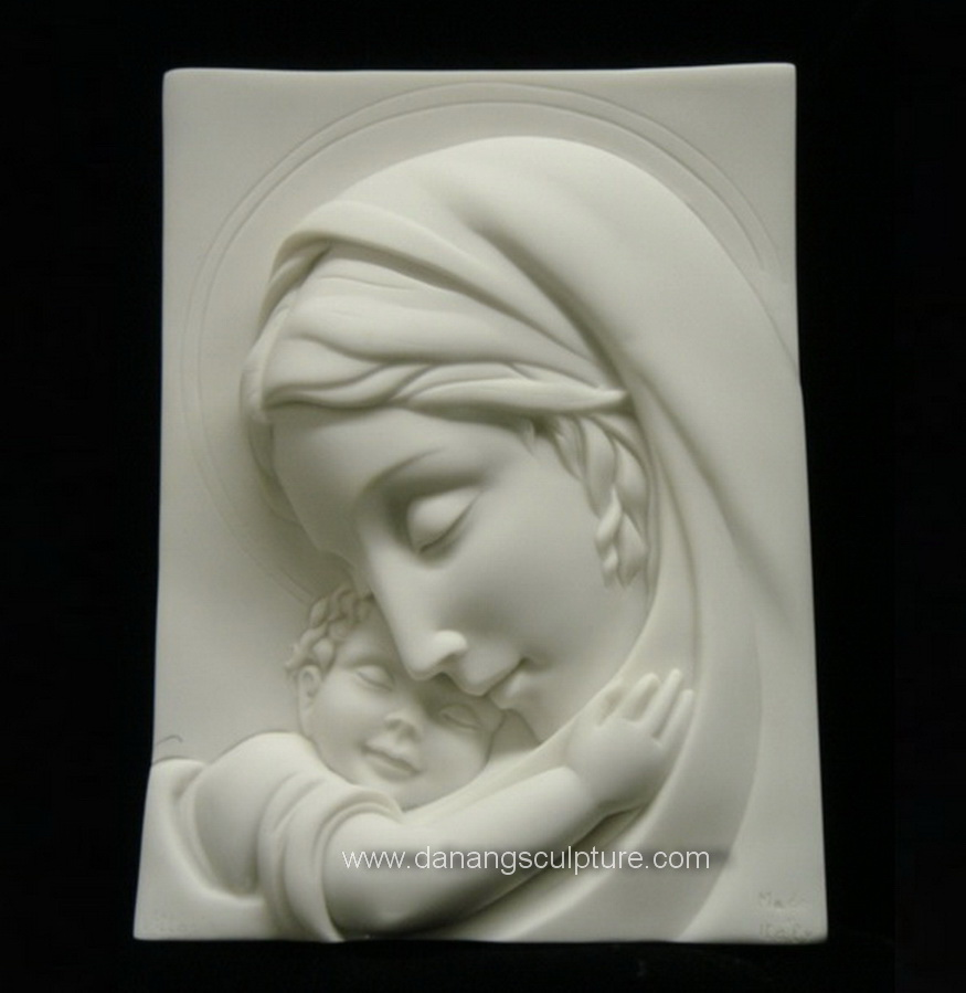 Maria en kind stone relief DSF-PD09