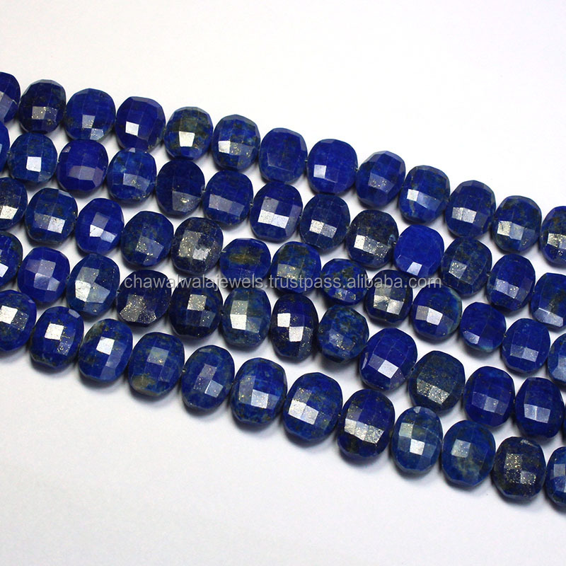 Blue Lapis Lazuli Step Cut Oval Shape Loose Semi Precious Beads Strand