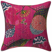 "Traditional design Beautiful flower printed Kantha Pillow Cushion Cover Decorative Throw Cushion Cover 16*16"" Inches"