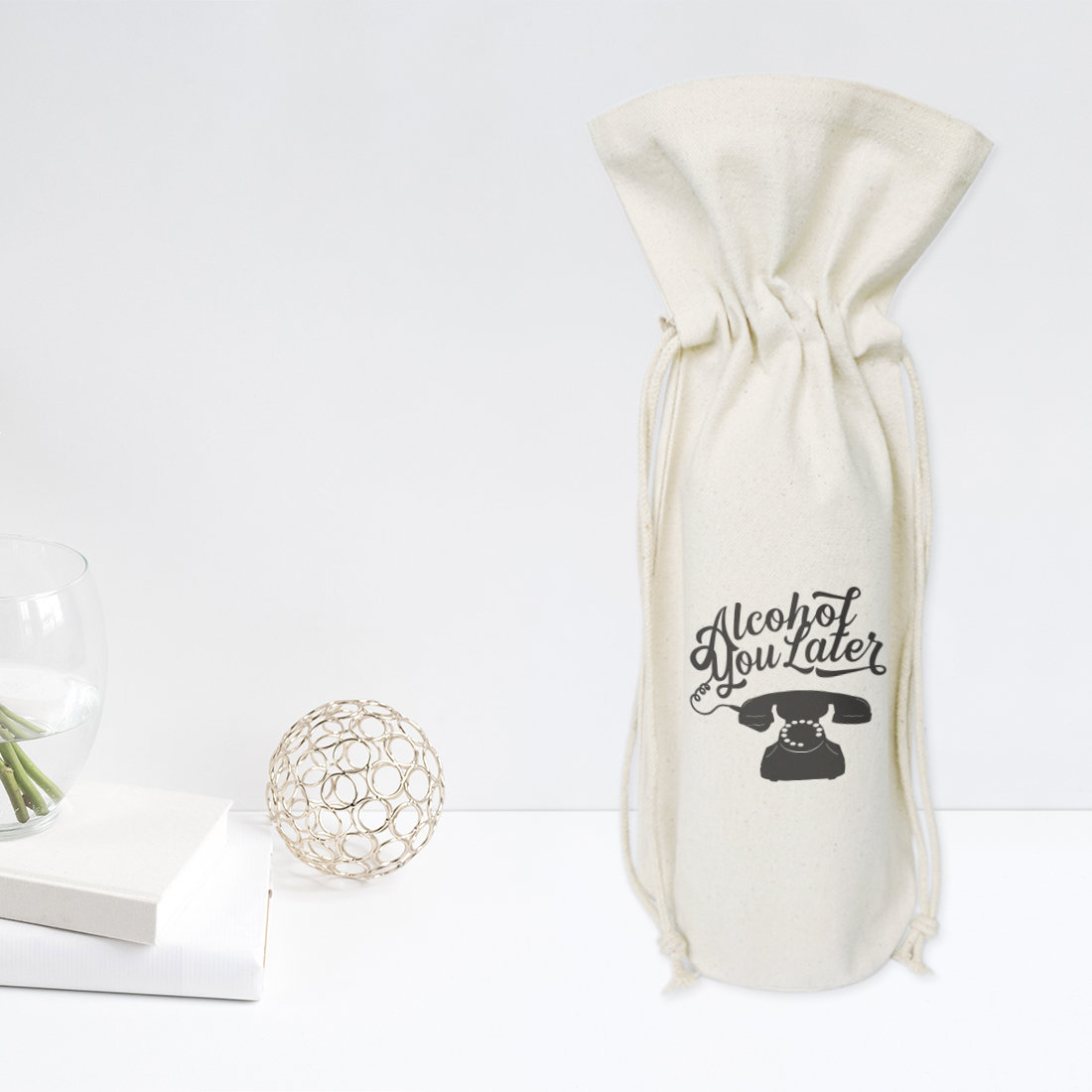 Reusable cotton canvas party cute gift drawstring wine bag