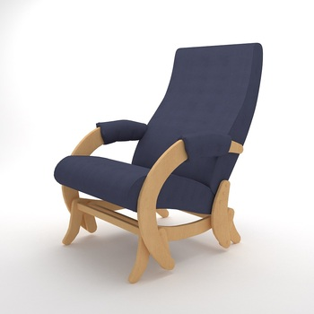 Natural Veneer Rocking chair Glider-68M (Denim Blue)