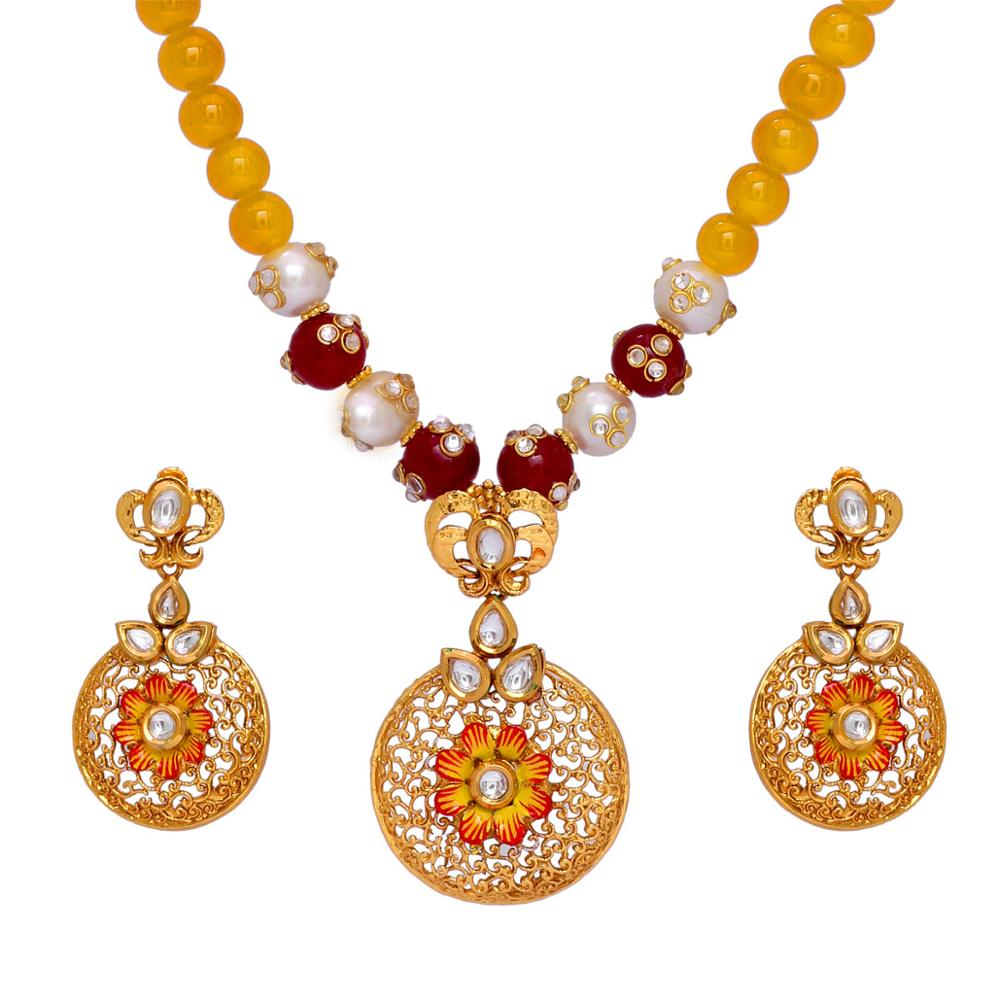 Jaali Work Gold Plated Flower Design Pendant With Yellow Color