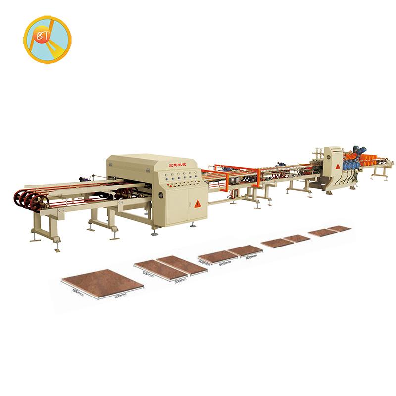 tile fabrication conveyor belt machine cut chamfer