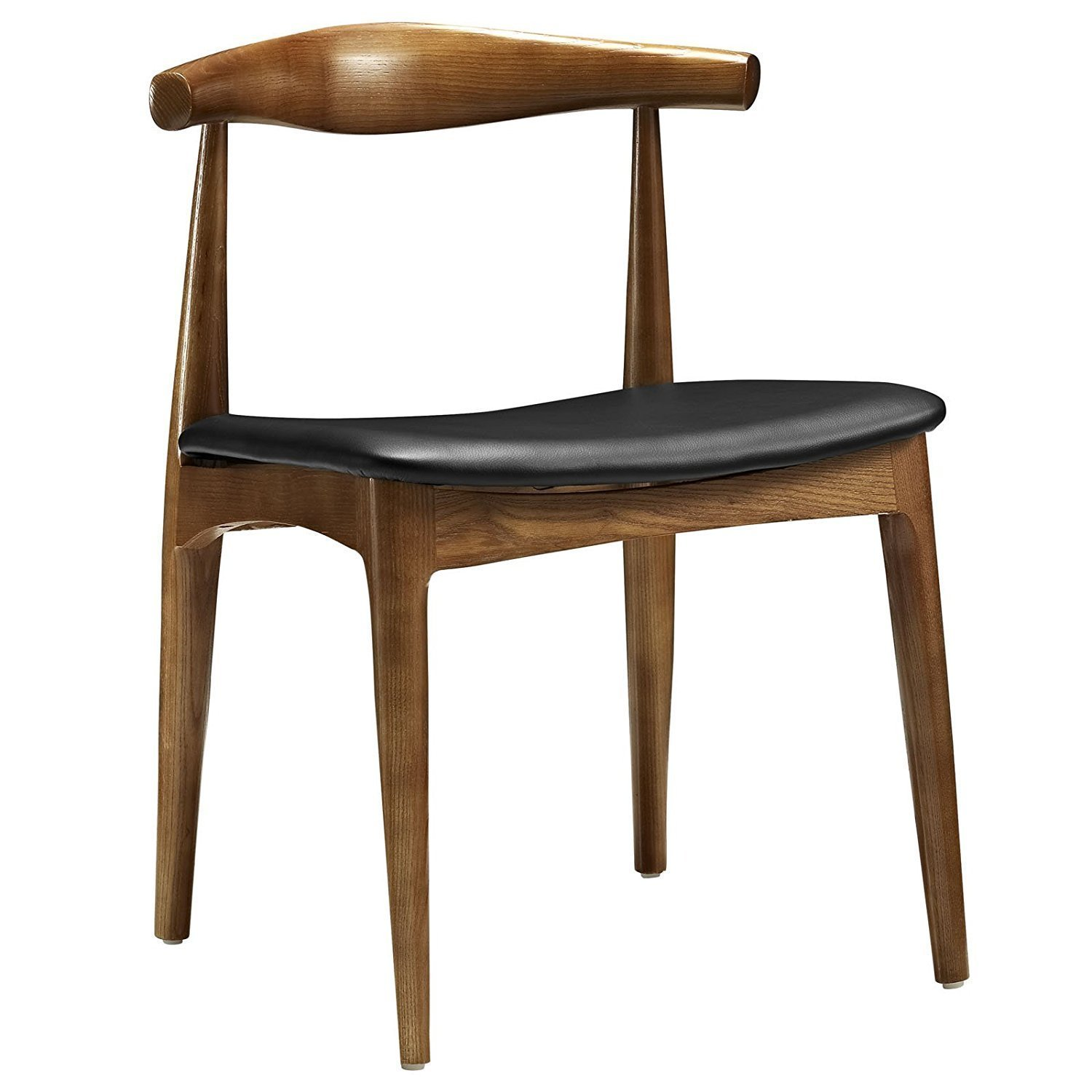 Hans Wegner Style Elbow Dining Chair, Black Faux Leather/Ash Wood Frame in Walnut Stain Dining Side Chair with Black PU Seat Cushion Walnut Finish-Set of 2