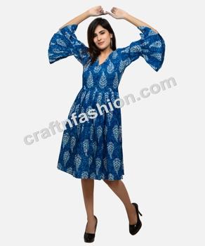 33dbef71e4 Bohemian Style Umbrella Sleeve Indigo Dress - Indian Cotton Hand Block  Print Kurti - Summer Fashion