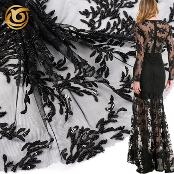 Fashion beautiful popular black mesh hand made heavy beaded lace fabric