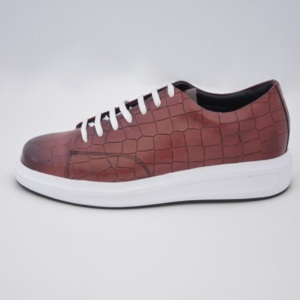 Popular Design Claret Red %100 Leather Sneakers 10402