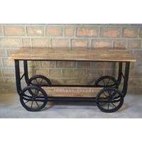 Unique Industrial Furniture Iron Mango Wood Kitchen Trolley Kitchen Cart