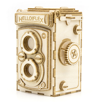 Toy Educational Game Intelligent Child Handmade Retro Camera Assembly 3D Wooden Puzzle