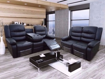 Roma Leather Recliner Cupholder Sofa
