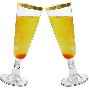 Premium Party Plastic 9oz Champagne Flutes Gold Rimmed Drink Cups