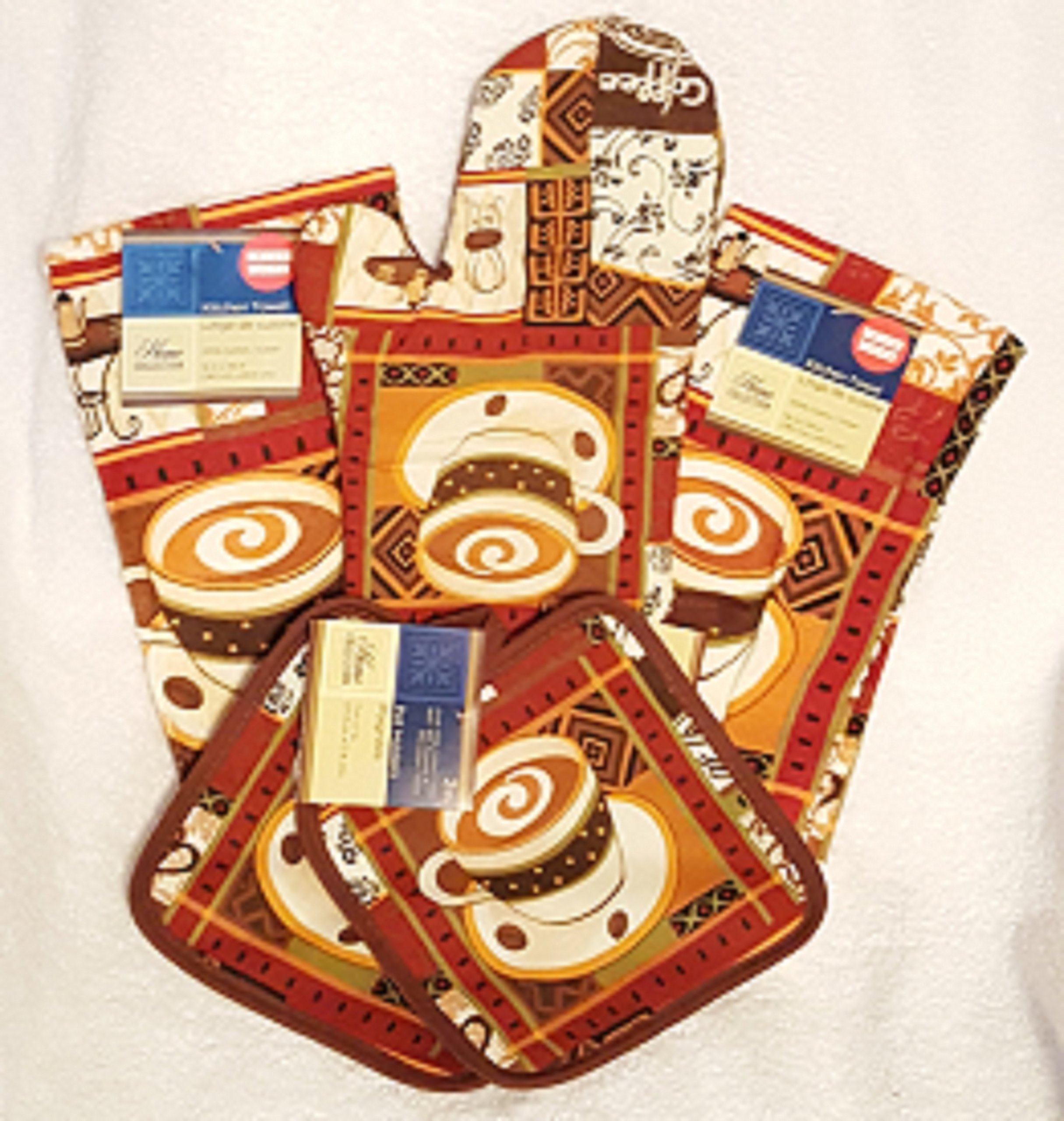 Coffee Theme Kitchen Linen Set - 5 Piece Set (Includes: One Oven Mitt, Two Dish Towels, and Two Pot Holders)