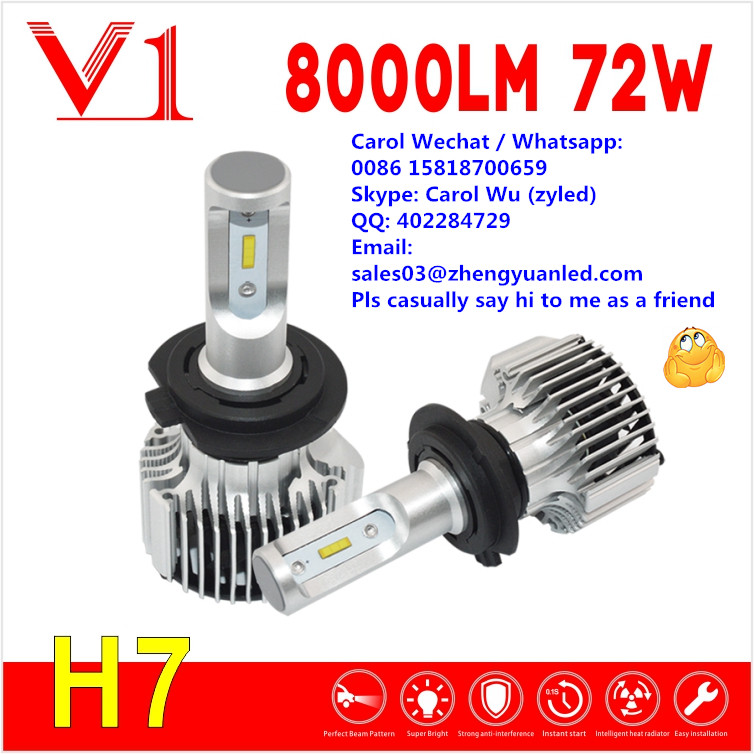 WOW 8000lm V1 h3 880 881 pk lujia C6 360 T1 auto parts 80W cars use h1 bulbs automobiles motorcycles h7 bulb led headlight bulb