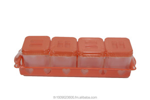 seasoning box 4 pcs plastic high quality with tray suit for kitchen or food biz