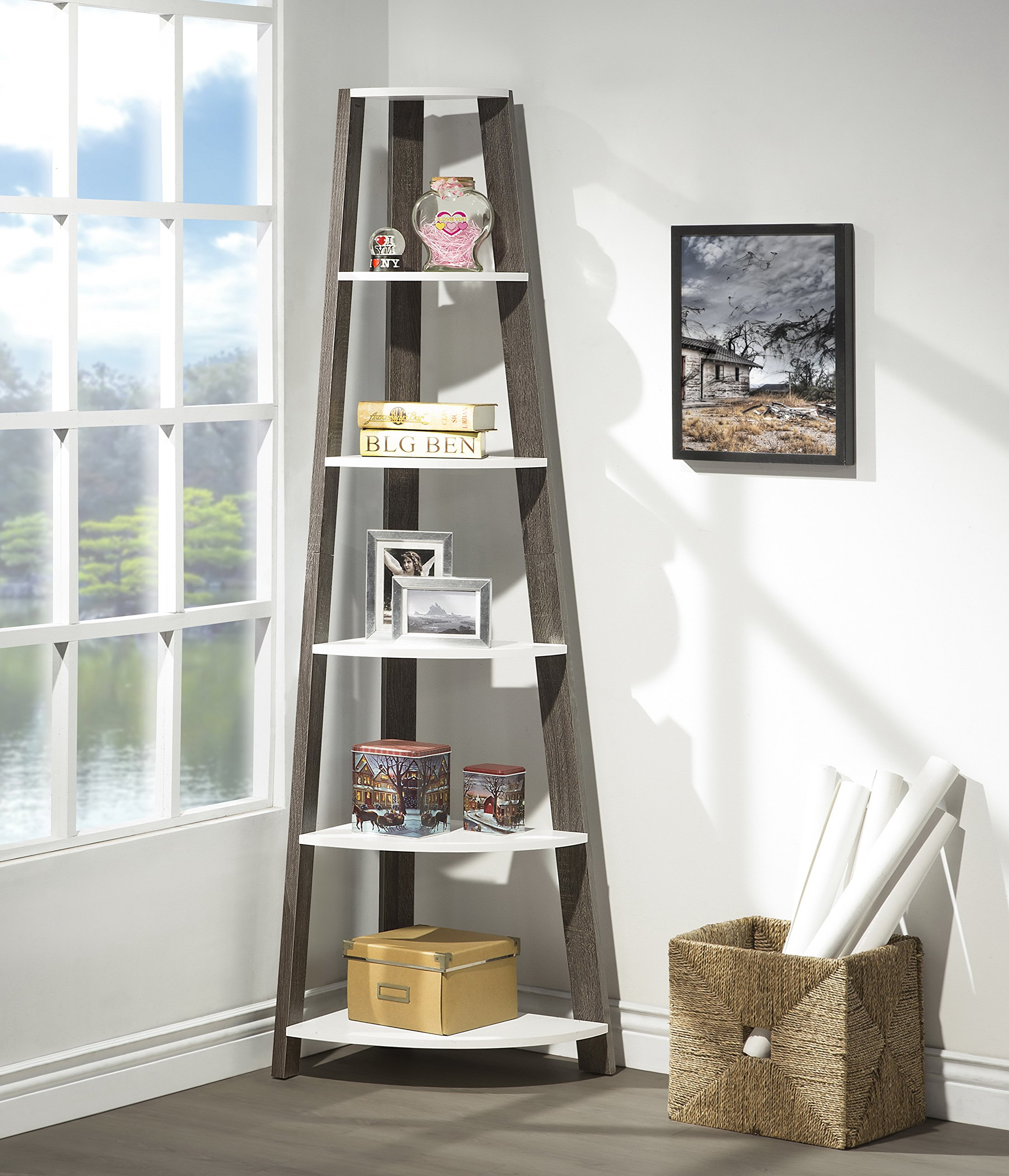 Get Quotations White Grey Finish Two Tone Wood Wall Corner 5 Tier Bookshelf Bookcase Accent