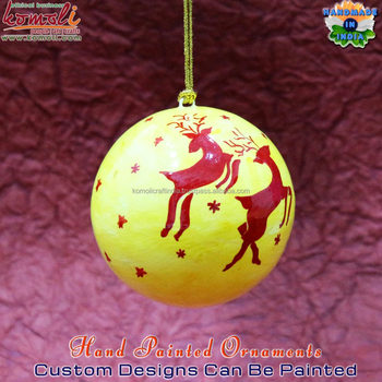 Paper Mache Custom Painted Christmas Baubles Reindeer Decoration ...