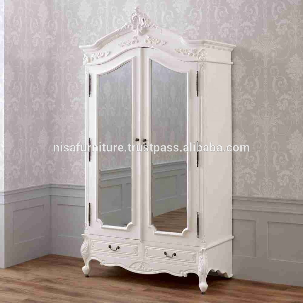 French White Provincial Furniture Antique Style Armoire With Two Mirrors Wardrobe Indonesia Mahogany