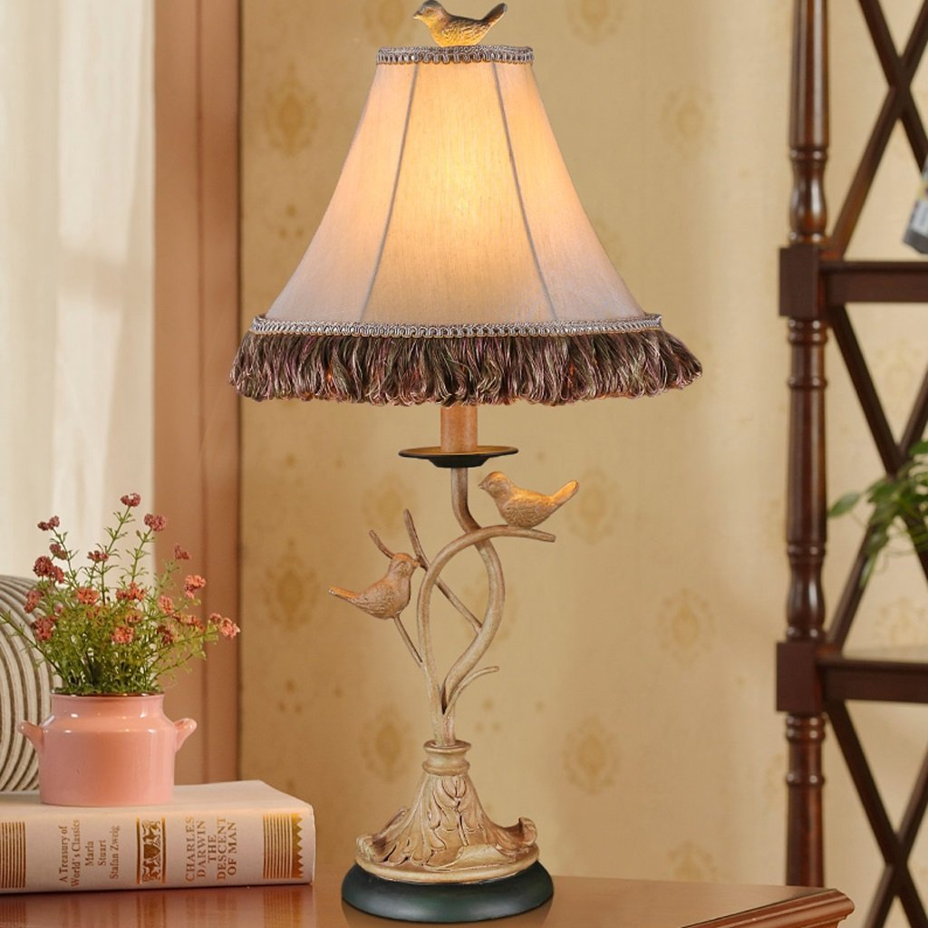 Get Quotations American Small Bird Table Lamp Personality European Resin Bedroom Bedside Push On Switch