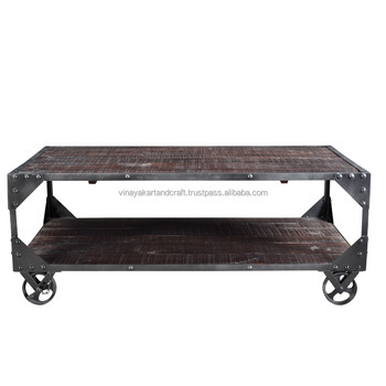 Vintage Coffee Table On Wheels Wooden Iron Rustic Antique Furniture