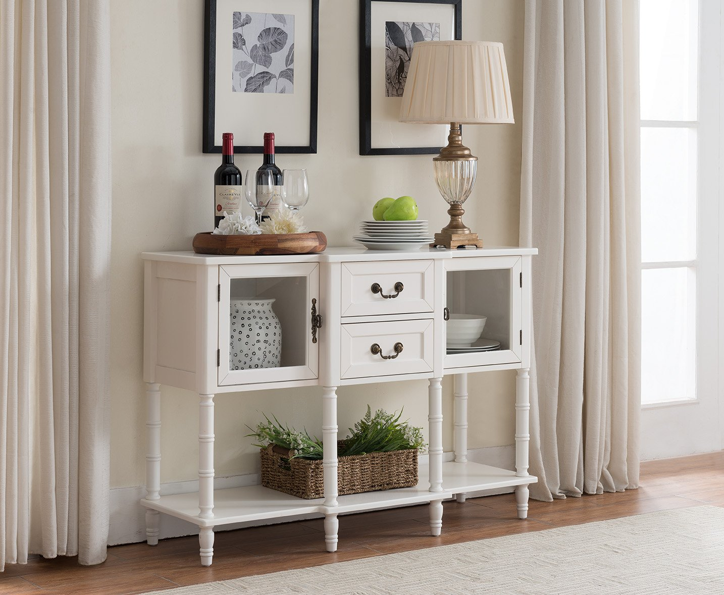 Kings Brand Furniture Wood Buffet Sideboard Cabinet Console Table, Cream White