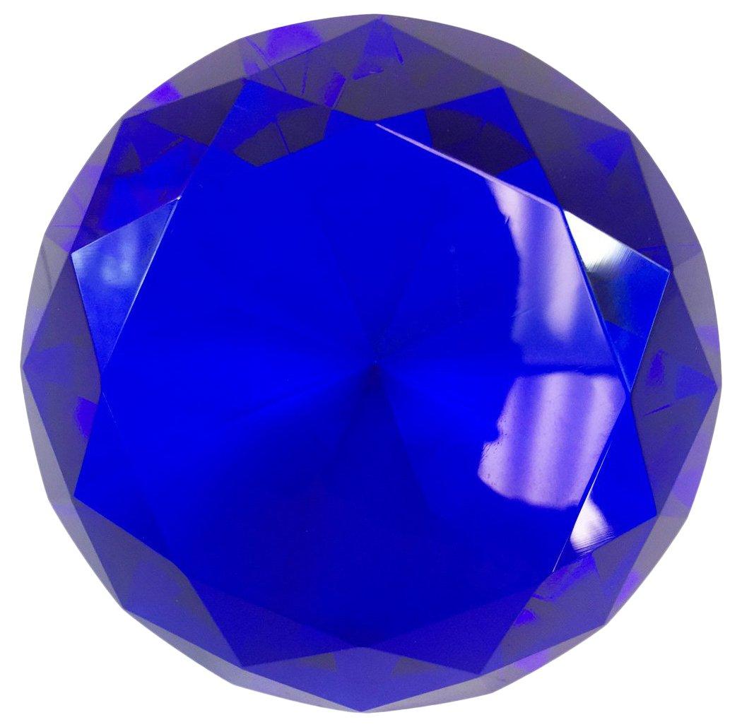 Hongville Fancy Crystal Glass Diamond Paperweight, Dark Blue