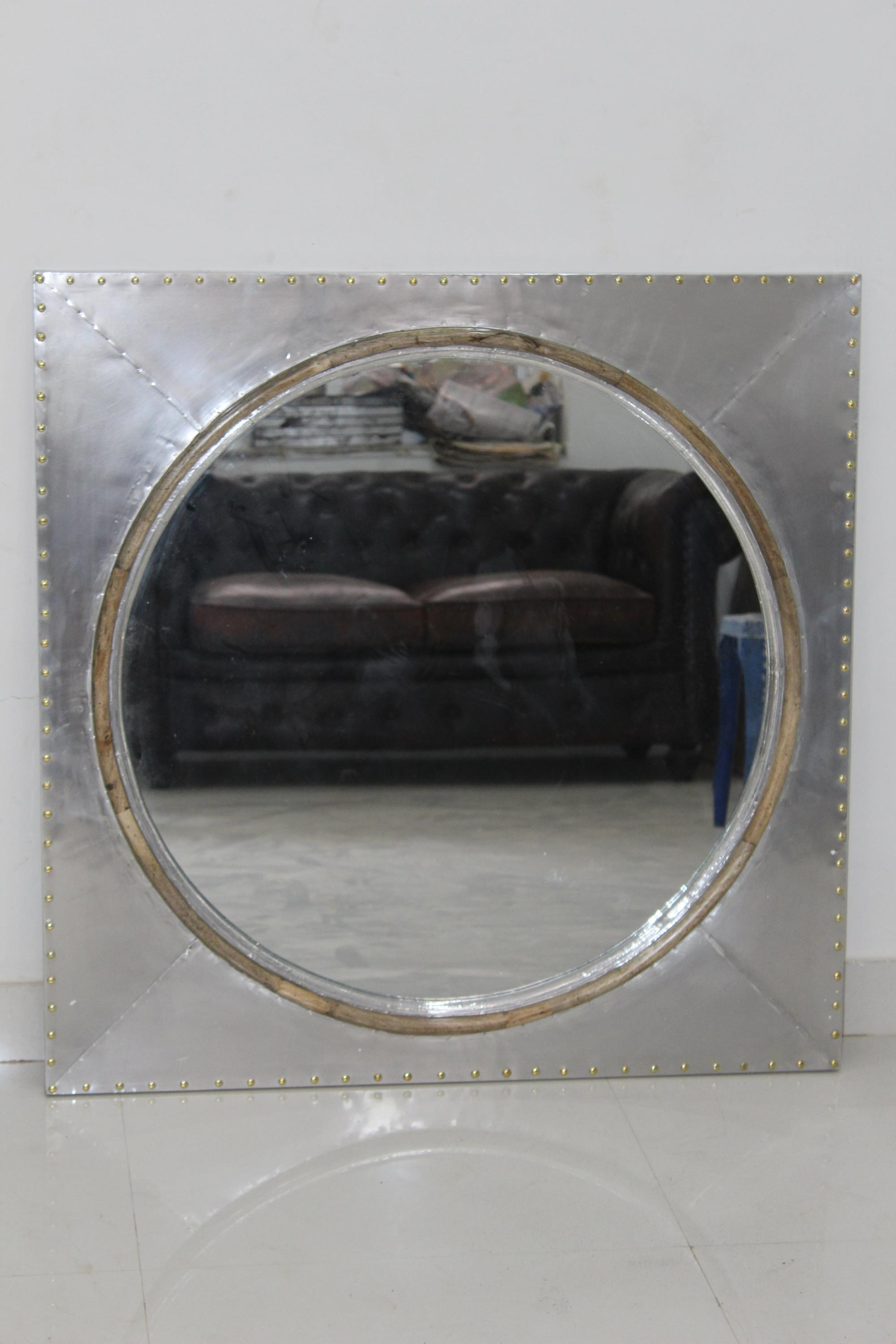 Vintage Industrial Aviator Mirror Frame Jodhpur Antique Square Mirror Frame Home Decor Wall Mirror Frame