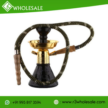 9 Inch Tall Glass Smoking Hookah With Metal Plate Ash Catcher And Ceramic Bowl WHOLESALE