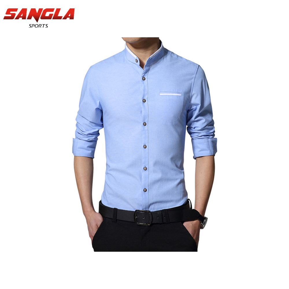 2018 New Design Custom Made Blue Men long Sleeve Shirt