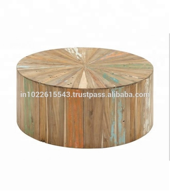 Industrial Reclaimed Wood Round Coffee Table Buy Round Coffee