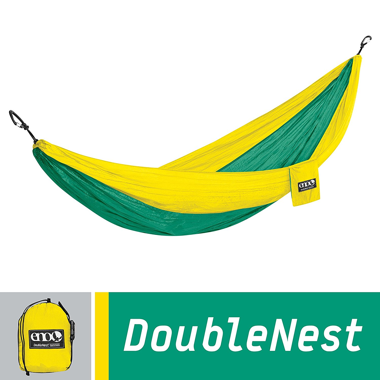 ENO Eagles Nest Outfitters - DoubleNest Hammock, Portable Hammock for Two, Emerald/Yellow