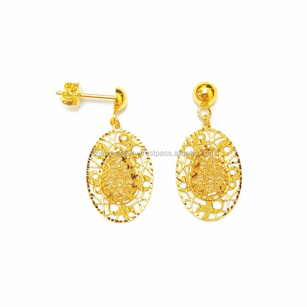 acbc13eccd74d Dubai Middle East Arabic Bridal Light Weight 18k 21k 22k Fine Yellow Gold  Earrings - Buy Earrings