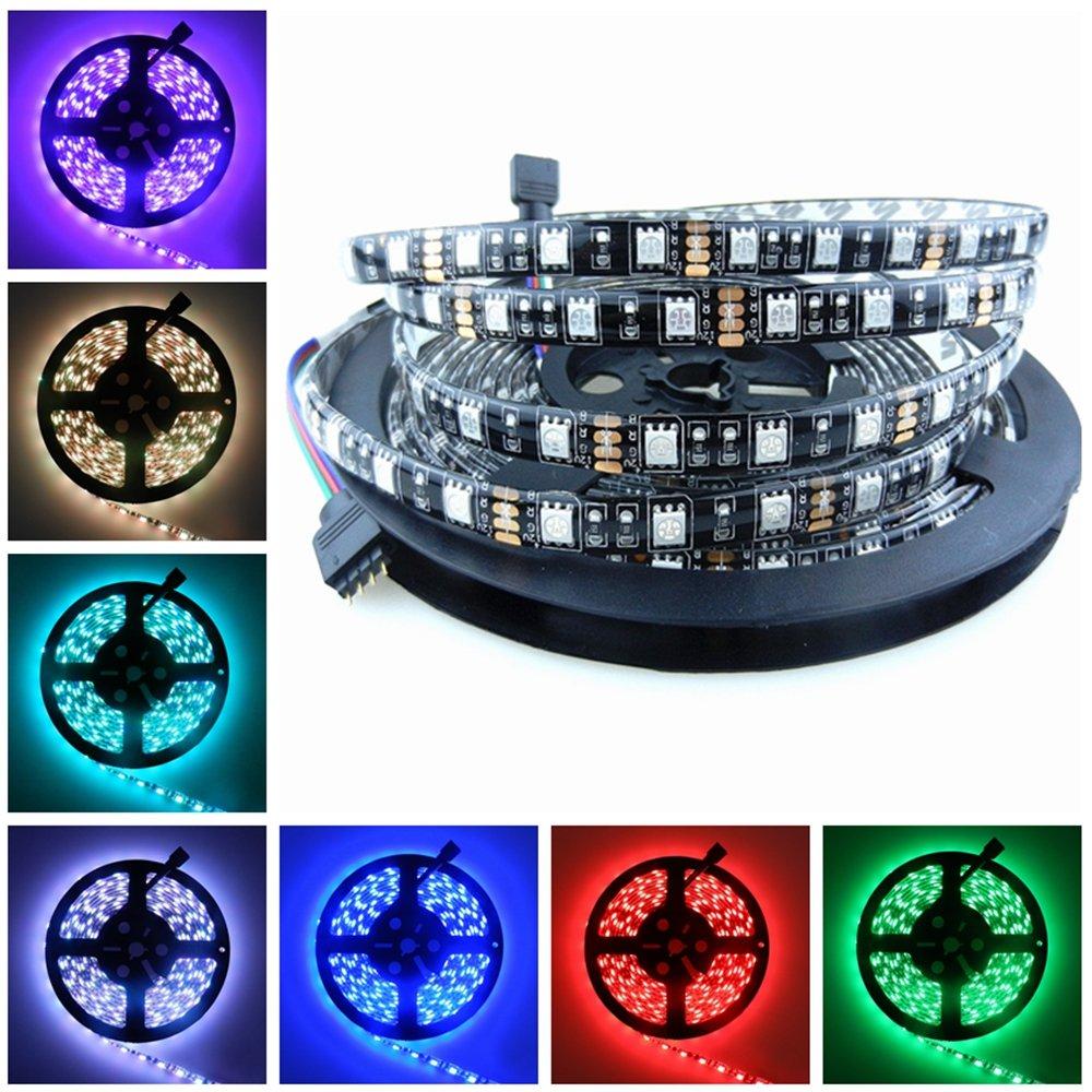 16.4ft Black PCB 5M 5050 SMD 300 Leds RGB Color IP65 Waterproof Flexible LED Strip Ribbon Light DC 12V