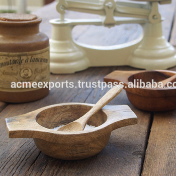 Natural Mango Wood Salt & Sugar Bowl With Wooden Spoon