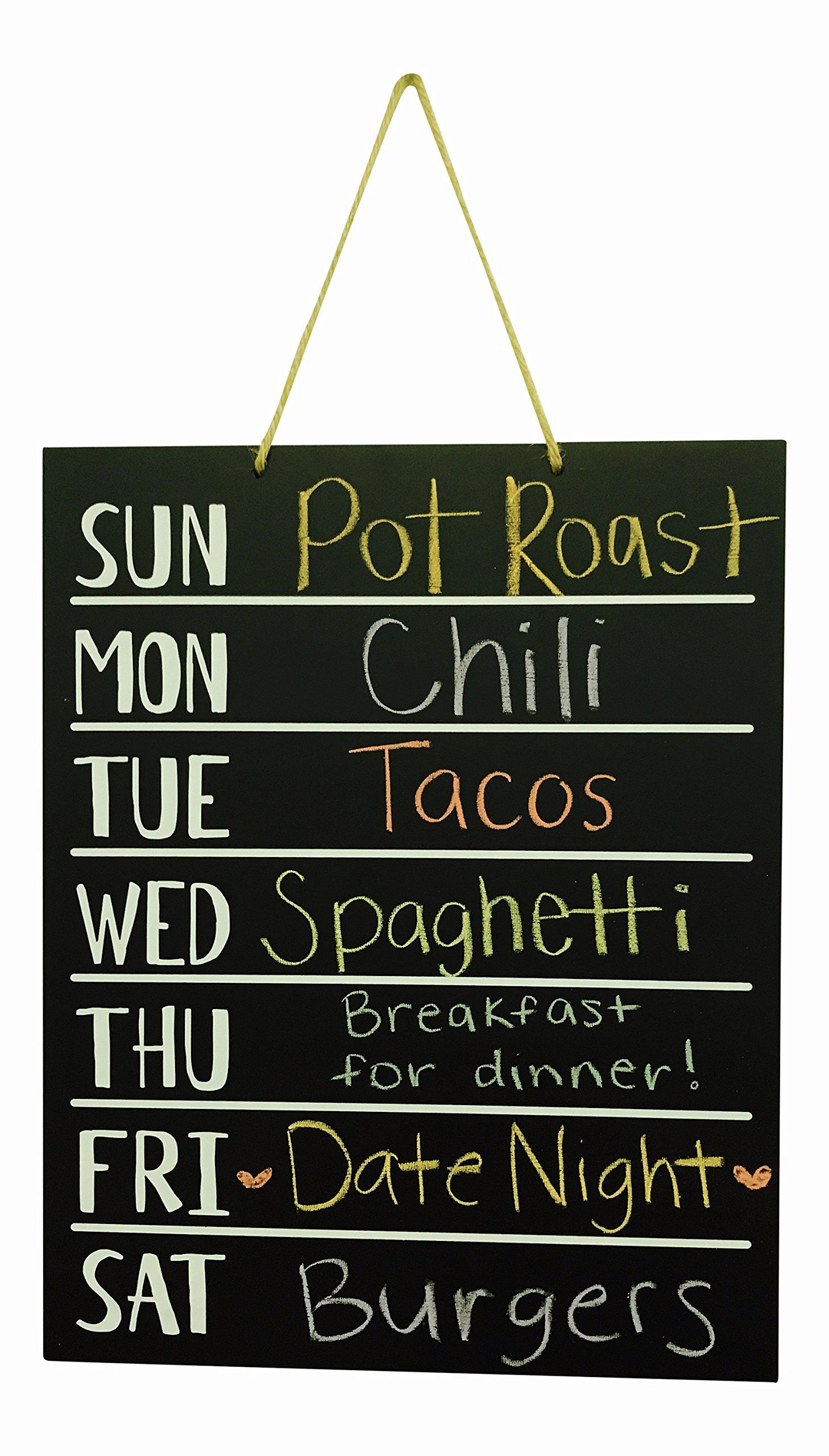 JennyGems - Menu Board- Wooden Chalkboard - Weekly Menu Meal Planner - Chore Board - Kitchen To Do List and Weekly Planner- Hours of operation - For Use With Actual Chalk (Do Not Use Liquid Chalk Pens
