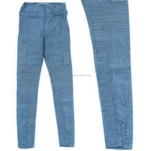 Blue Denim style stone washed wholesale custom jeans women