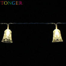 TONGER Thuis Jingle Bell LED String <span class=keywords><strong>Verlichting</strong></span>, Kerst LED String <span class=keywords><strong>Verlichting</strong></span> Met Batterij Aangedreven