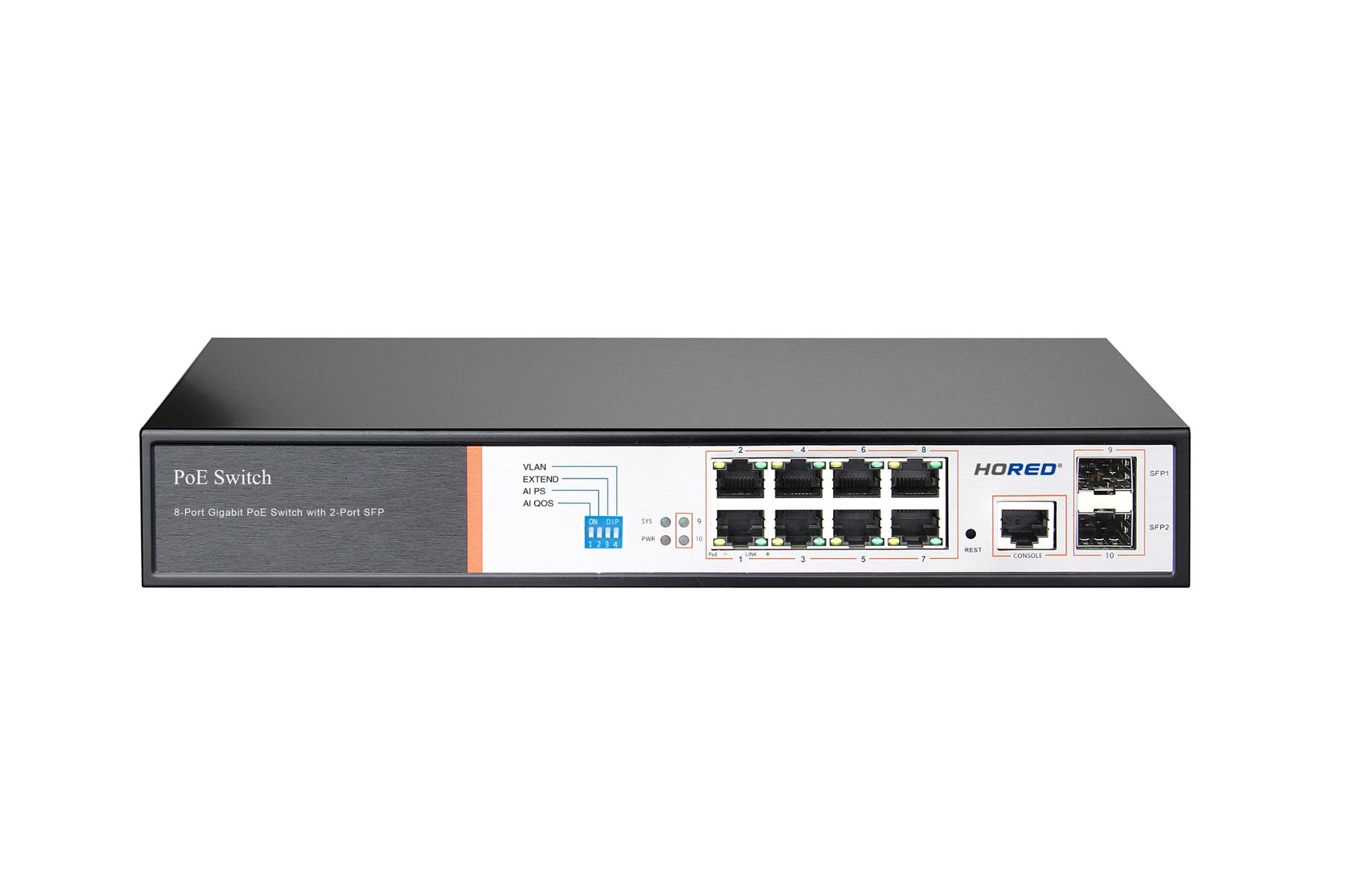 150W Vlan 250 Meters 2 SFP Port Gigabit Ethernet Switch 8 Port Layer 2 PoE Switch For CCTV
