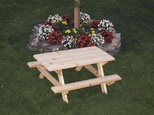 Amish Made Cedar Wood Kids Picnic Table - Stained Furniture