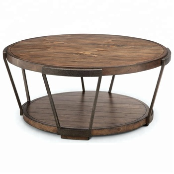 Vintage Metal Coffee Table Center Reclaimed Wood Round Rustic With