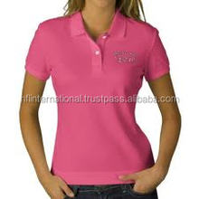 2017 women pink polo style polo shirt , sports uniform polo shirt
