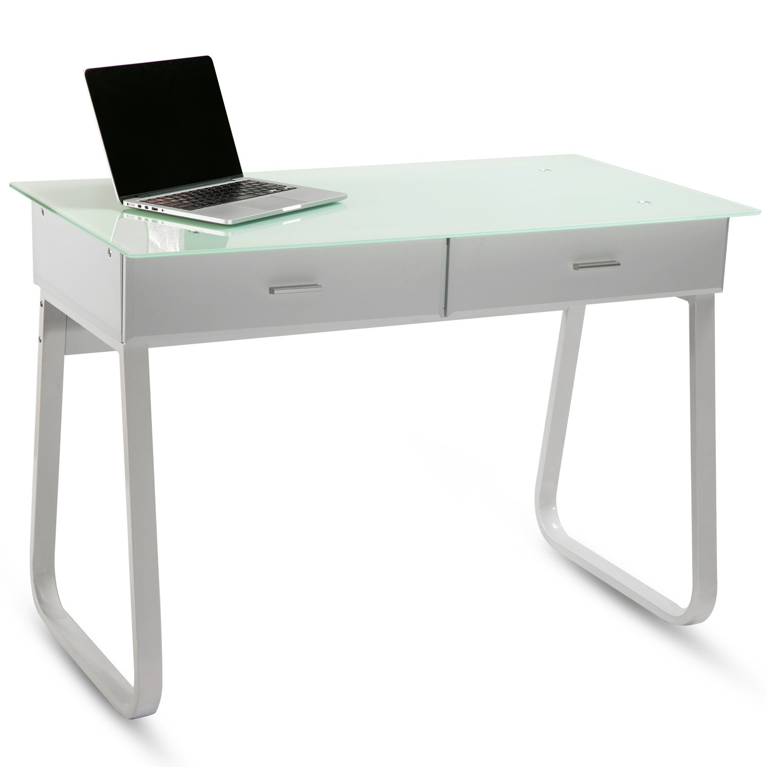 Modern Luxe Home Office Computer Desk Table with Glass Top/Metal Frame/MDF board White
